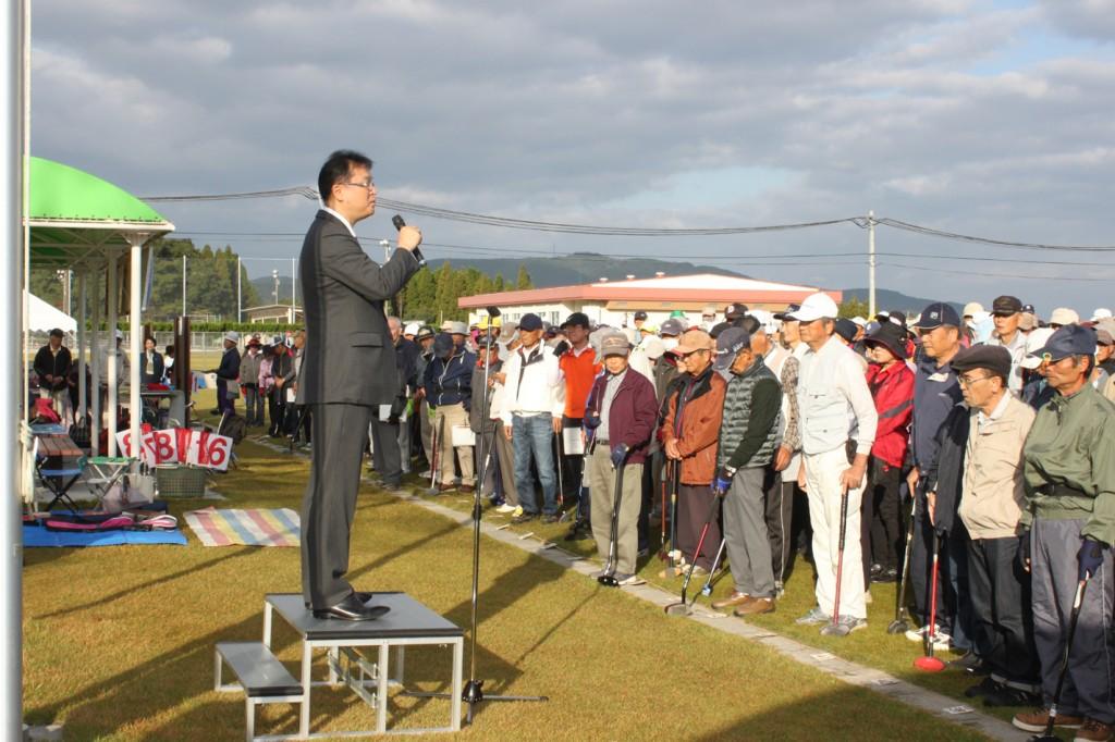 H30-10-28-博善社互助会員グラウンドゴルフ大会-開会式-社長挨拶
